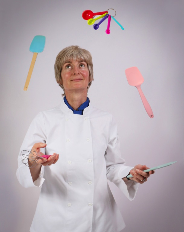 About Caroline - juggling cooking utensils