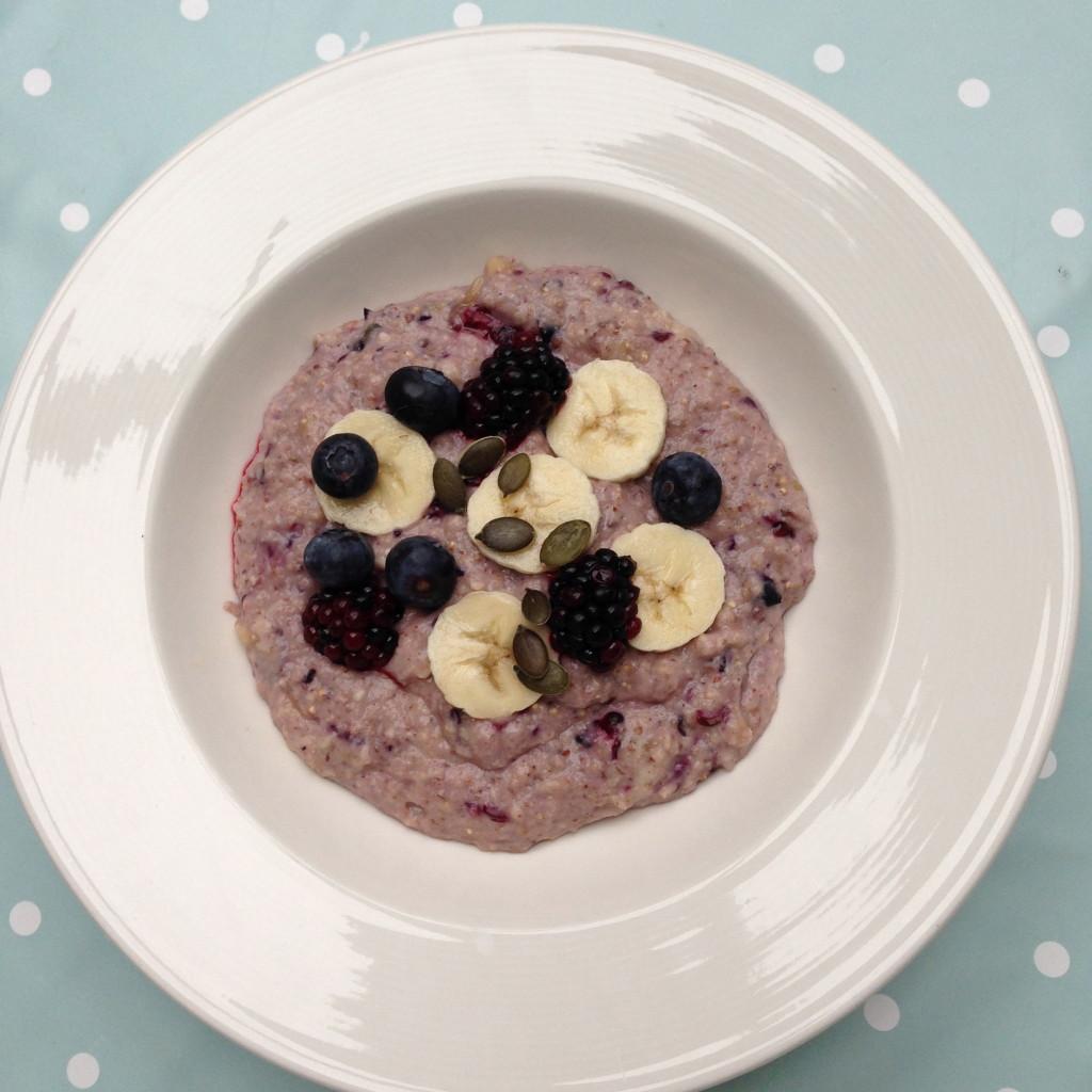 protein porridge with bananas blueberries and blackberries