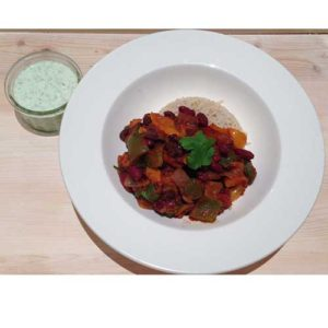 Vegetable Chilli with Brown Rice, Coriander and Mint Chutney